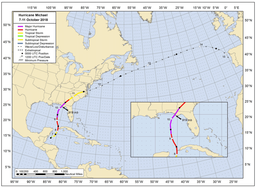 Best track positions for Hurricane Michael, 7–11 October 2018. The track during the extratropical stage is partially based on analyses from the NOAA Ocean Prediction Center.