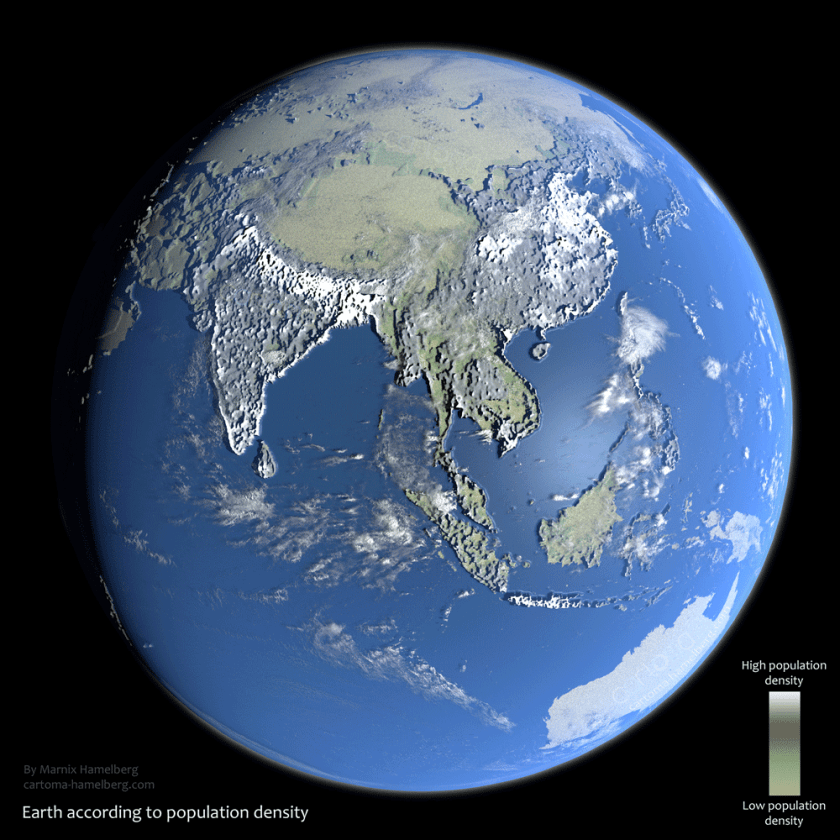 Earth According to Population Density.  Map: Marnix Hemelberg