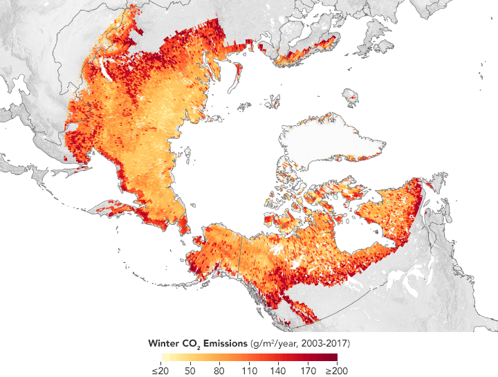 Arctic map showing winter carbon dioxide emissions, 2003 - 2017. Map: Joshua Stevens, using data from Natali, S.M., et al. (2019).