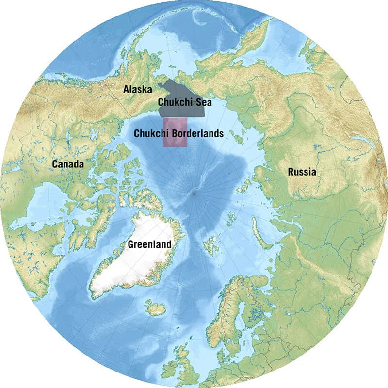 This map of the Arctic Ocean highlights both the Chukchi Sea and the study region for this expedition, the Chukchi Borderlands. Wikipedia, edited by Caitlin Bailey, NOAA