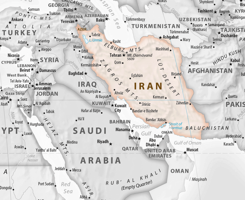 Map showing the location of Iran in the Middle East. Map from Equal Earth, public domain.
