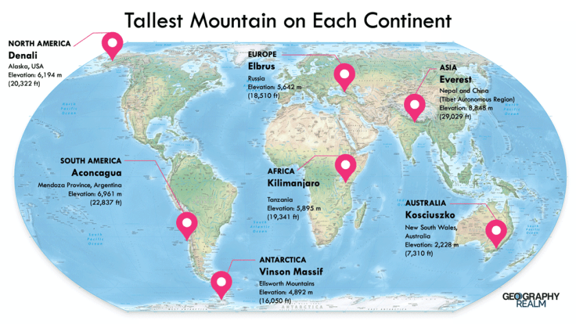Map showing the location of the tallest mountain on each continent. Base map: Equal Earth, public domain.