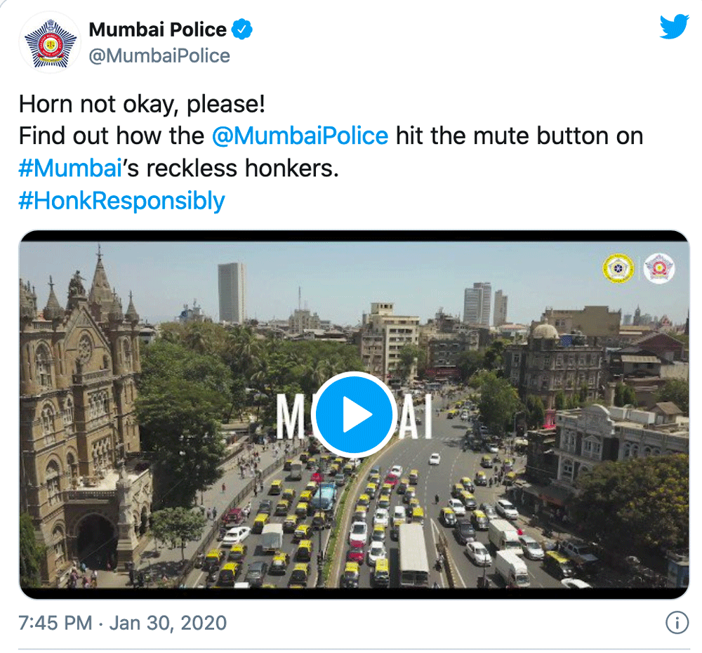 Mumbai police have launched an anti-honking campaign to reduce noise pollution in the city.