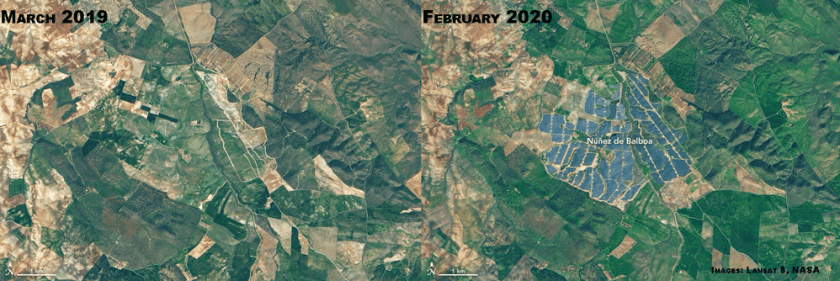 Núñez de Balboa solar plant in Spain.  Images: Landsat, NASA.