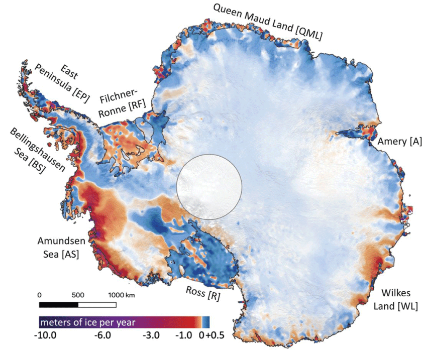 Map showing mass ice loss from Antarctica (2003 to 2019). Source: Smith et al., 2020.