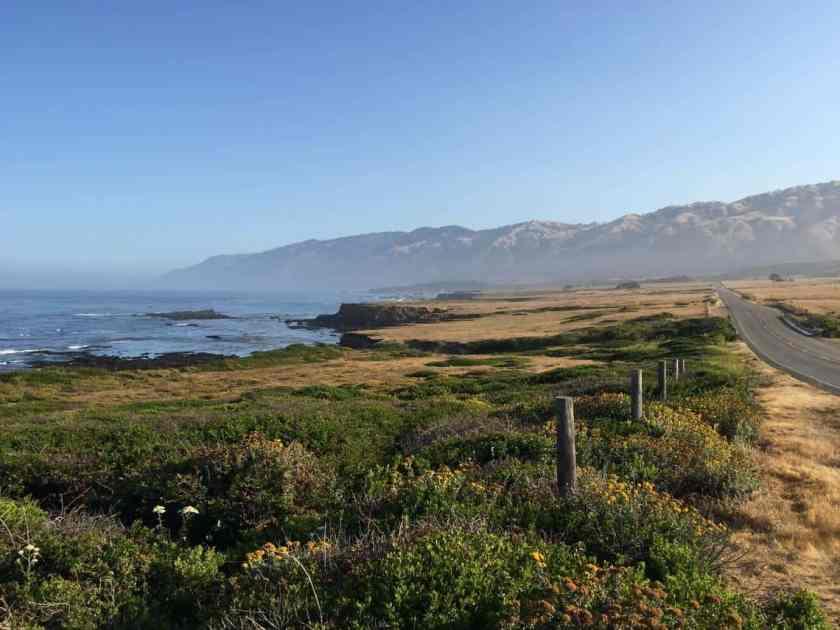 View along California's Central Coast near San Simeon looking north up Highway 1 along the California coast toward Big Sur. Photo: Shawn Harrison, Pacific Coastal and Marine Science Center, USGS. Public domain.