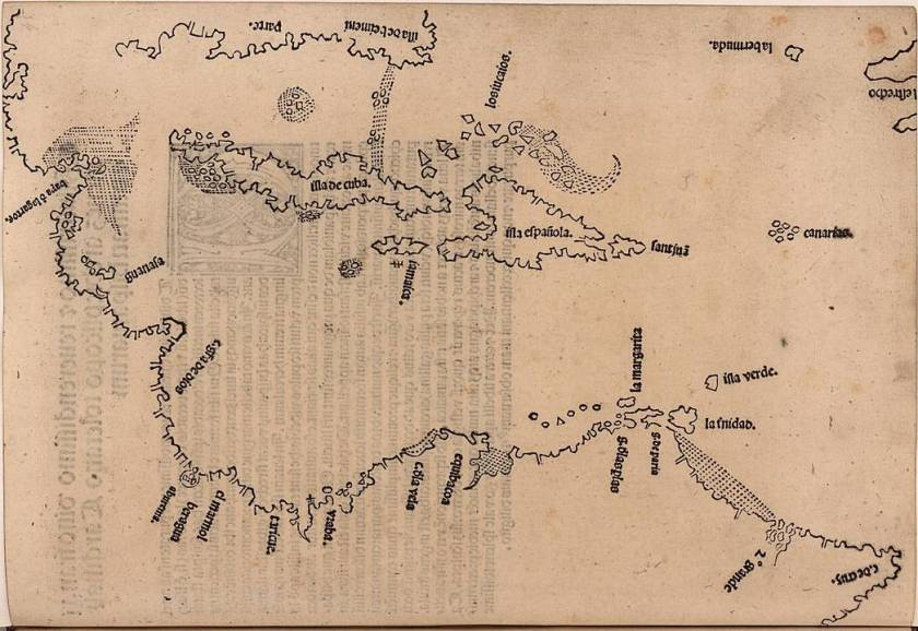 Map of the Caribbean published in Legatio Babylonica, 1511 by Peter Martyr d'Anghiera.  Digitized image from John Carter Brown Library, public domain.