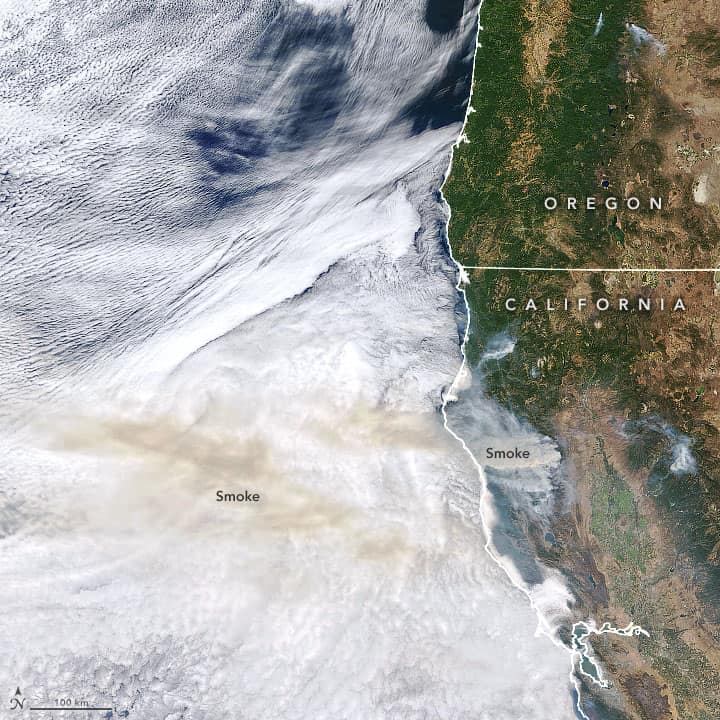 Satellite imagery showing smoke from the California wildfires on September 2, 2020. Image: the Moderate Resolution Imaging Spectroradiometer (MODIS) on NASA's Terra satellite, public domain.