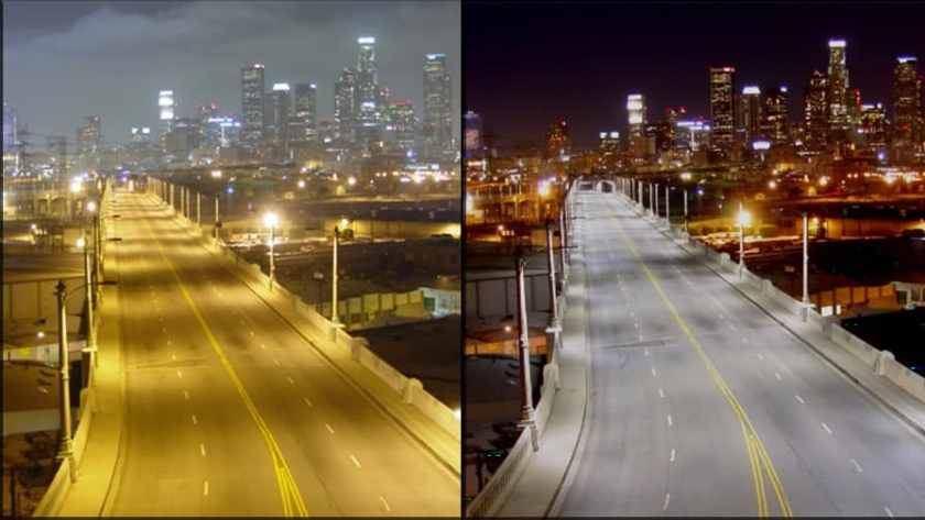 Before and after pictures of replacement lighting at the 6th Street Bridge over the Los Angeles River. The image on the right shows replaced light fixtures that angle the light down instead of sideways and upwards.  Photos: City of Los Angeles.