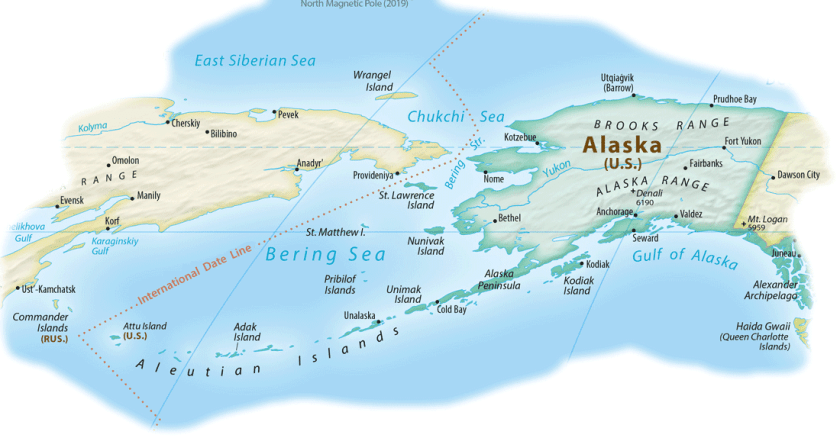 Map showing the location of Attu Island.  Map: Cropped from the Equal Earth Physical Map, public domain.