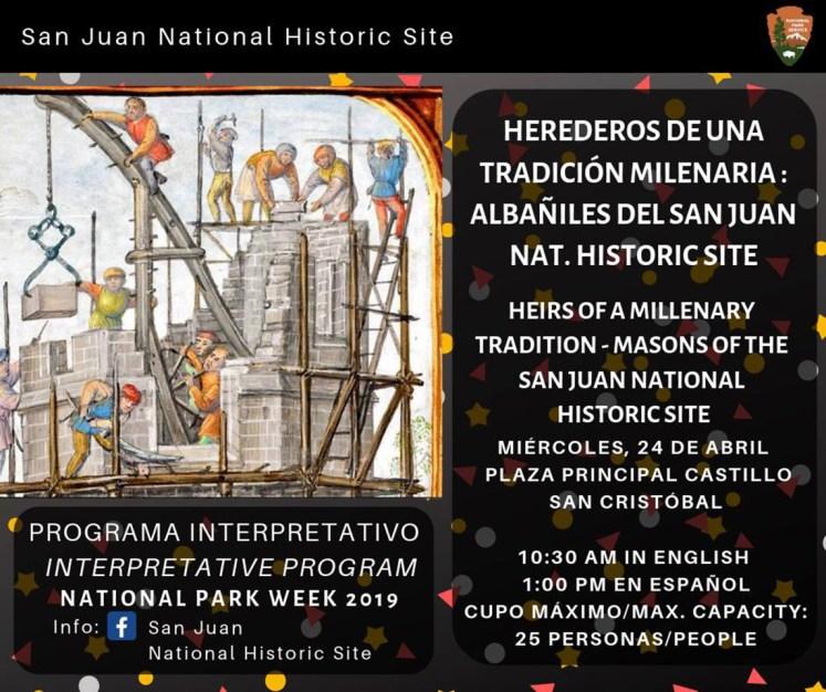 """Afiche de la charla charla """"Héroes de una tradición milenaria: Albañiles del San Juan National Historic Site""""."""