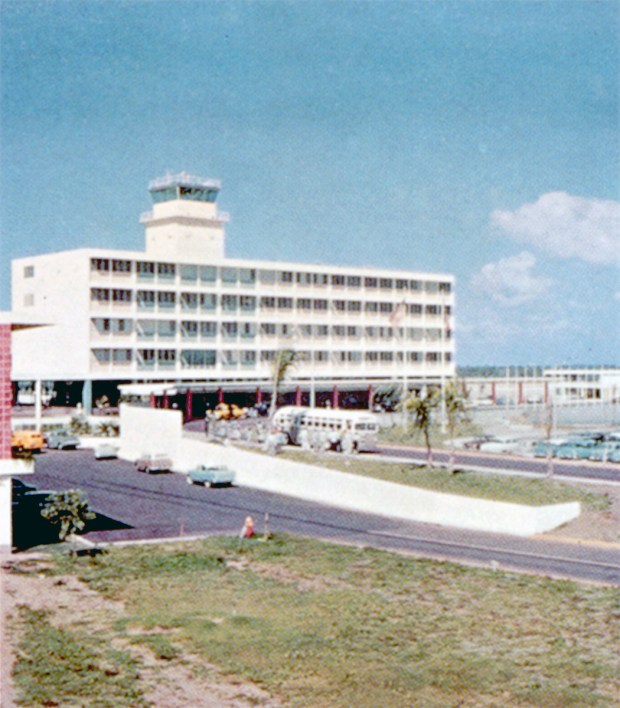 Built at a cost of $15 million, opened in 1955, San Juan's airport is one of the busiest and best anywhere, and has recently enlarged to handle jet aircraft and a great increase of air travel to the island, including an almost constant shuttle between New York and Miami, as well as other cities of the Caribbean and South America.