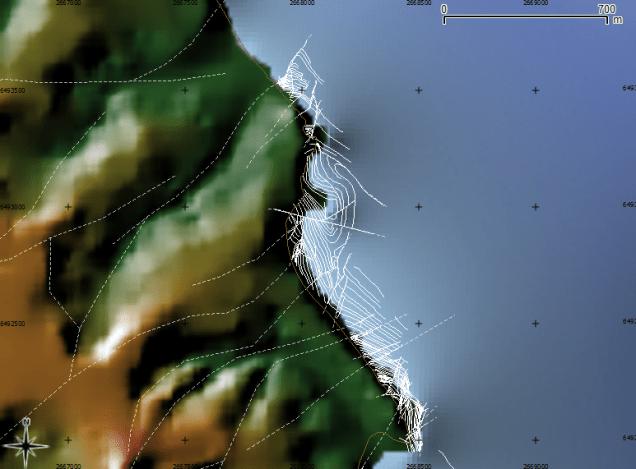 Form surface interpretation of coastal shore platform (Google Earth) viewed with DEM (source: LINZ) in QGIS