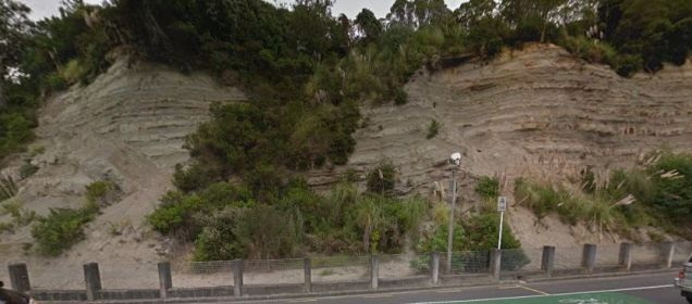 Faults cutting Waitemata Group bedded sandstones on Tamaki Drive, Auckland (source: Google Maps Street View)