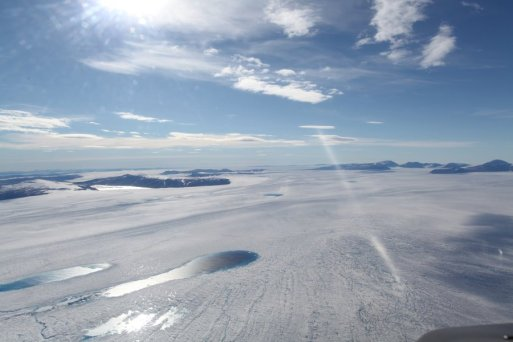 Researchers at The Ohio State University and their colleagues have discovered that the same hotspot that feeds Iceland's active volcanoes has been causing them to underestimate ice loss on Greenland. Credit: Photo of Zachariae Isbrae in northeast Greenland by Anders A Bjork, courtesy of The Ohio State