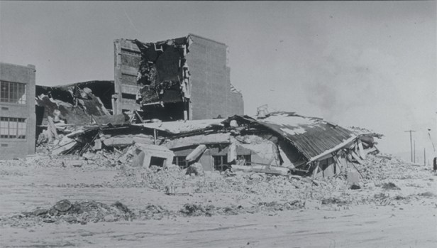 A photograph of damage to Helena High School, which collapsed following a major aftershock from the 1935 magnitude 6.2 earthquake near Helena, Montana. Credit: NOAA National Geophysical Data Center