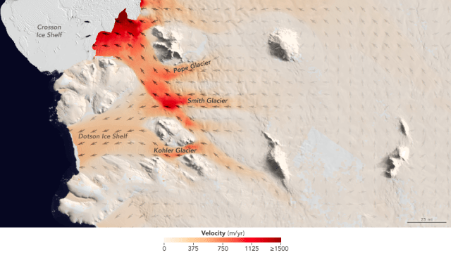For a pair of recent studies, UCI and NASA JPL scientists examined three neighboring glaciers in West Antarctica that are melting and retreating at different rates. The Smith, Pope and Kohler glaciers flow into the Dotson and Crosson ice shelves in the Amundsen Sea embayment in West Antarctica, the part of the continent with the largest loss of ice mass. Credit: NASA JPL