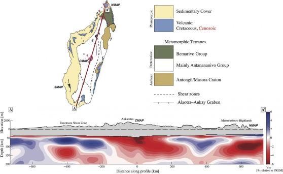 Seismic images showed areas of hotter rock underlying elevated areas of recent volcanism (NMAP and CMAP on the seismic image; red outlines on the inset map). Credit: Martin Pratt