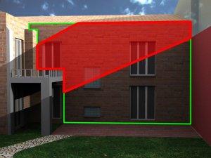 Augmentation de l'ombre portée liée au bâtiment voisin projeté