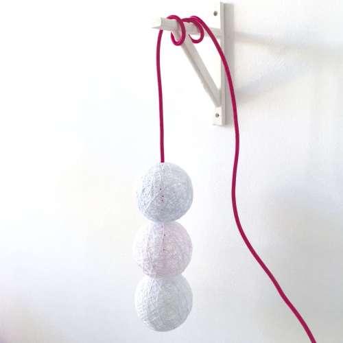 lámpara de pared 3 BALLS con interruptor y enchufe artesanal de hilo hecha a mano decorativa