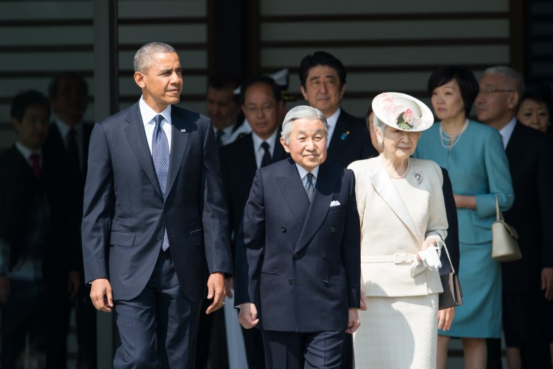 TOKYO, Japan (April 24, 2014) U.S. President Barack Obama participates in the welcome ceremony with their Majesties the Emperor and Empress of Japan and Japan's Prime Minister Shinzo Abe at the Imperial Palace during his state visit to Japan. [State Department photo by William Ng/Public domain]