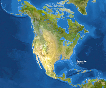 "National Geographic ""Rising Seas"" map of projected North American shoreline change from ice melt. Map from: http://tiny.cc/xc0z9w"