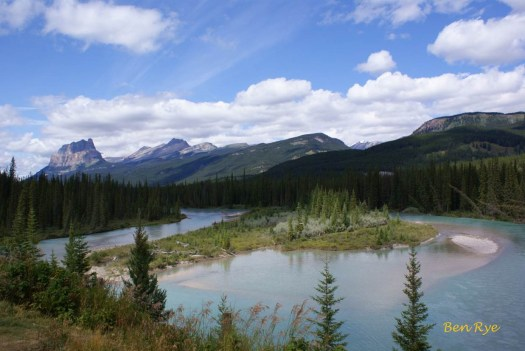 Castle Mountain (Canadian Main Ranges) and Bow River, Banff National Park, Alberta, by Ben Rye.