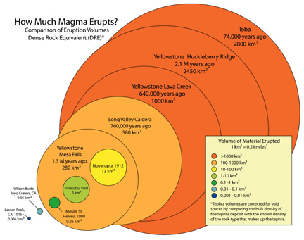 "Comparison of eruption sizes  using the volume of magma erupted from several volcanoes (From USGS ""Questions about Supervolcanoes"": http://volcanoes.usgs.gov/volcanoes/yellowstone/yellowstone_sub_page_49.html)."