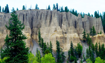 Dutch Creek Hoodoos at mouth of Dutch Creek along Highway 93/95 south to Cranbrook, B.C.. The hoodoos are calcite-cemented Quaternary deltaic foresets deposited at edge of Glacial Lake Invermere.