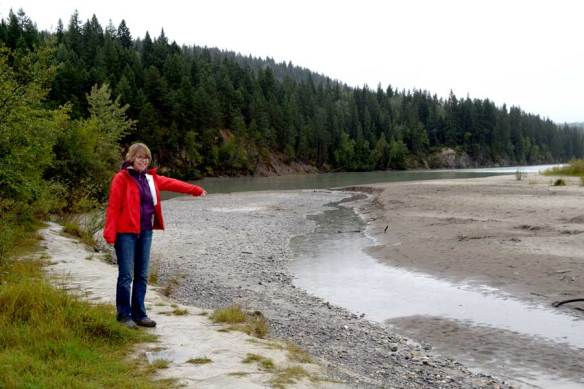 Nora - one of our intrepid AWG field trippers- points out at side channel of the Kicking Horse River near its confluence with the Columbia River.