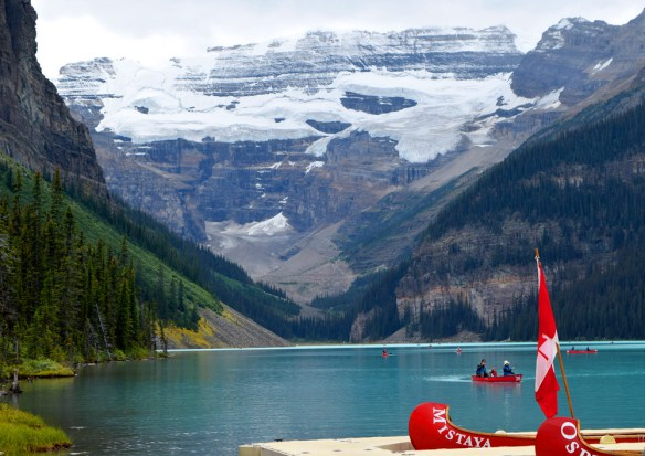 """Some of us took to the water and canoed around Moraine Lake near Lake Louise, Alberta. Moraine Lake is located within the valley known as the """"Valley of the Ten Peaks"""" which was once featured on the Canadian twenty-dollar bill."""