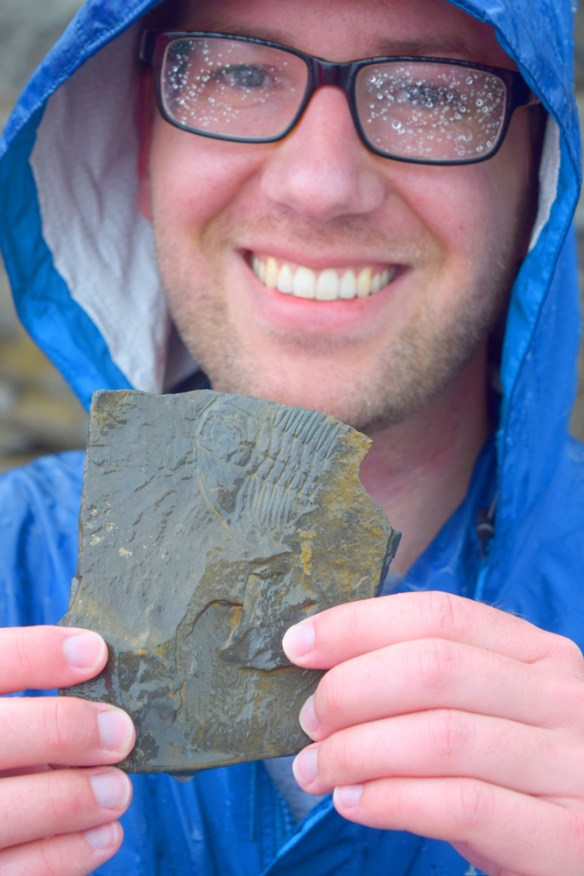 A member of our field trip group shows us one of the Burgess Shale's trilobites from the Walcott Quarry.