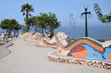 Mosaics along the Parque del Amor, whose designs are reminiscent of work by Antoni Gaudí.