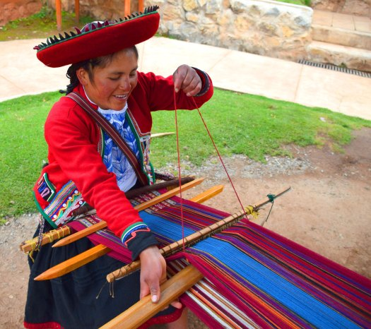 The preservation of traditional weaving using alpaca and sheep wool is the focus of the Chinchero weaving co-op.
