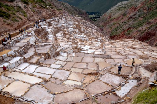 The Maras salt pans have been used for salt production since at least the Inca era.