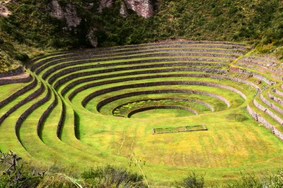 Moray is comprised of concentric agricultural terraces that are built in a carbonate sink hole (doline).
