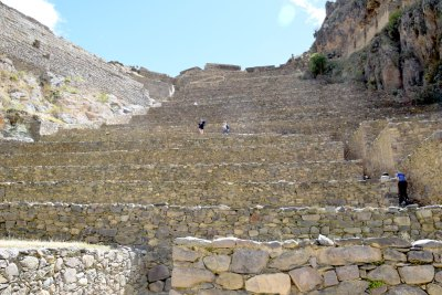 Terraces and stairways that climb the ruins of Ollantaytambo.