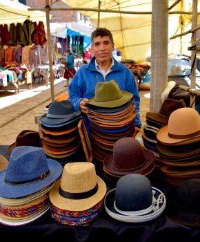 Hats are a good seller at the Pisac market.