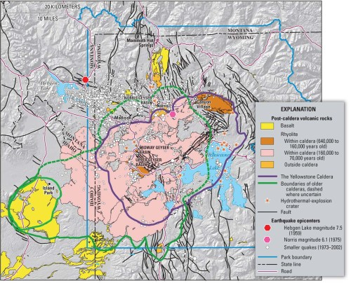 Caldera boundaries of Yellowstone area eruptions over the past 2.1 million years (U.S. Geological Survey - http://pubs.usgs.gov/fs/2005/3024/)