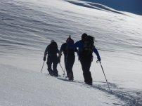 Julia, Dietmar und Thomas im oberen Teil des Anstiegs