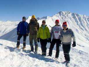 Am Gipfel des Kreuzecks (2.204m) v.l. Thomas, Wastl, Julia, Dietmar, Georg