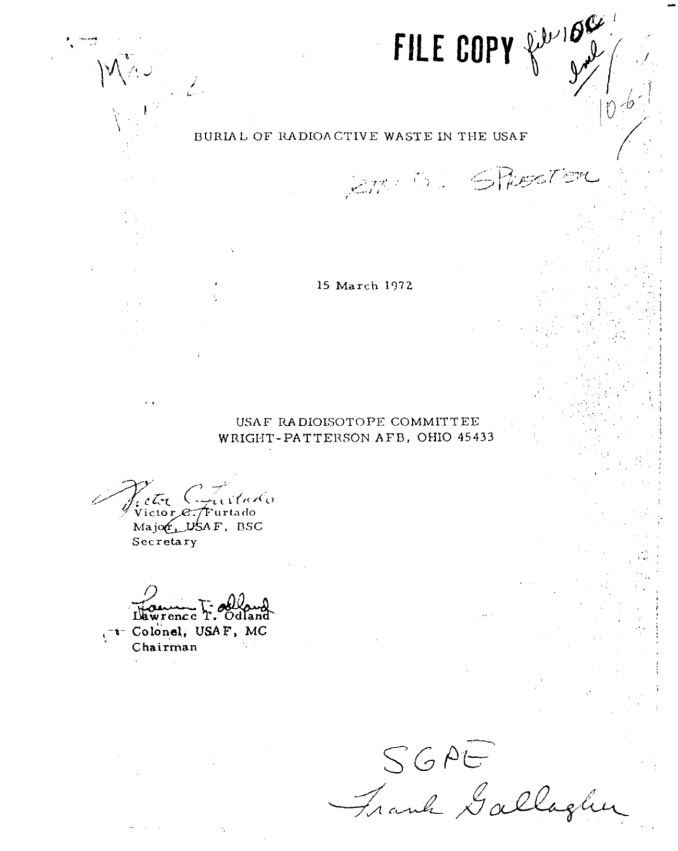 Burial of Radioactive Waste in the USAF