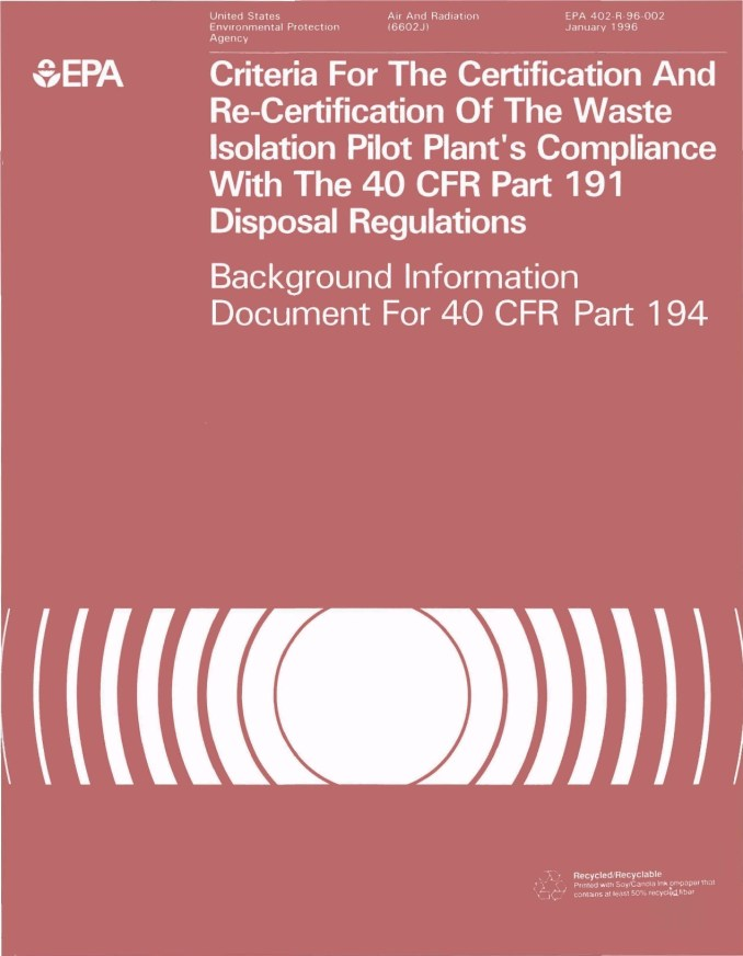 Criteria for the Certification and Re-Certification of the Waste Isolation Pilot Plant