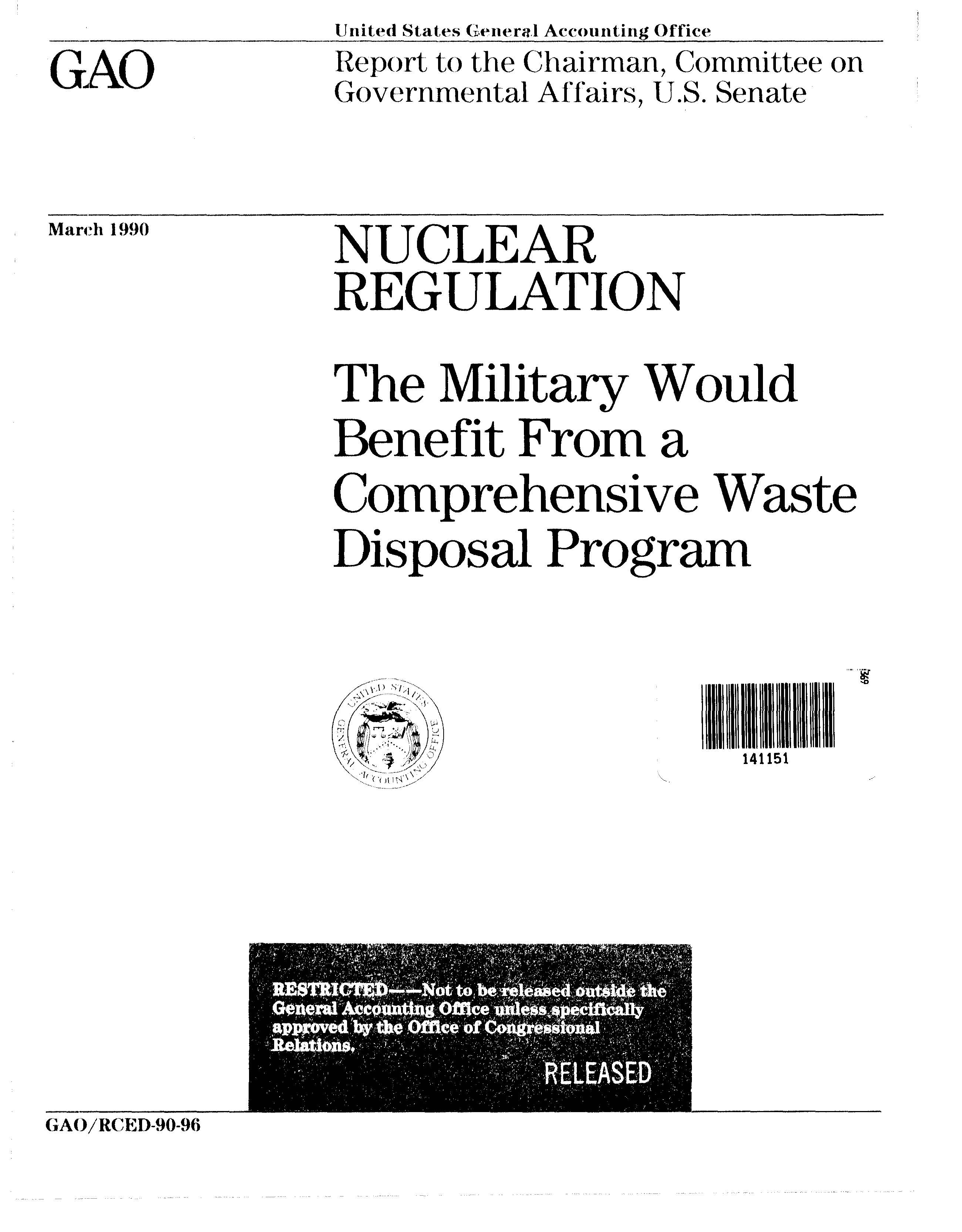 GAO – The Military Would Benefit From a Comprehensive Waste Disposal Program