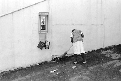 woman sweeping at the Southeastern Fair