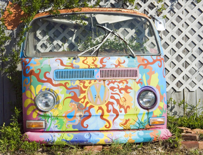 VW bus front in Florida