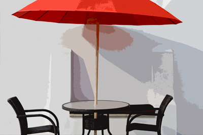 Alys Beach red umbrella