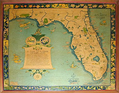 George Glazer Gallery   Antique Maps   A Map of Florida for Garden     George Glazer Gallery   Antique Maps   A Map of Florida for Garden Lovers   Art Deco Pictorial Map