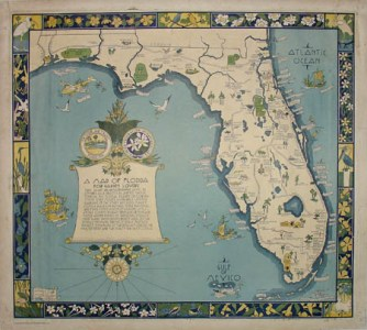 George Glazer Gallery   Antique Maps   A Map of Florida for Garden     A Map of Florida for Garden Lovers