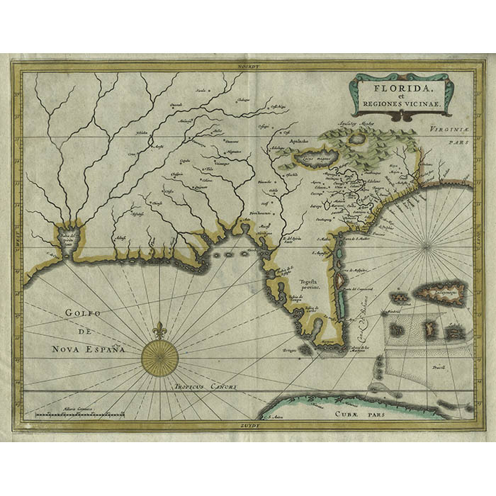 So, you want to live longer? Map Southeastern United States Florida West Indies De Laet Antique Print Dutch 1630 George Glazer Gallery Antiques